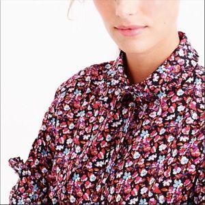 J. Crew Liberty Blouse Top 12 Floral Tie Neck